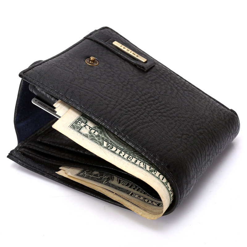 Fashion New Mens Genuine Cow Leather Wallets Black Brown Quality Soft Bright Hasp 3 Fold ID Credit Card Holder Coin Pocket Purse цена