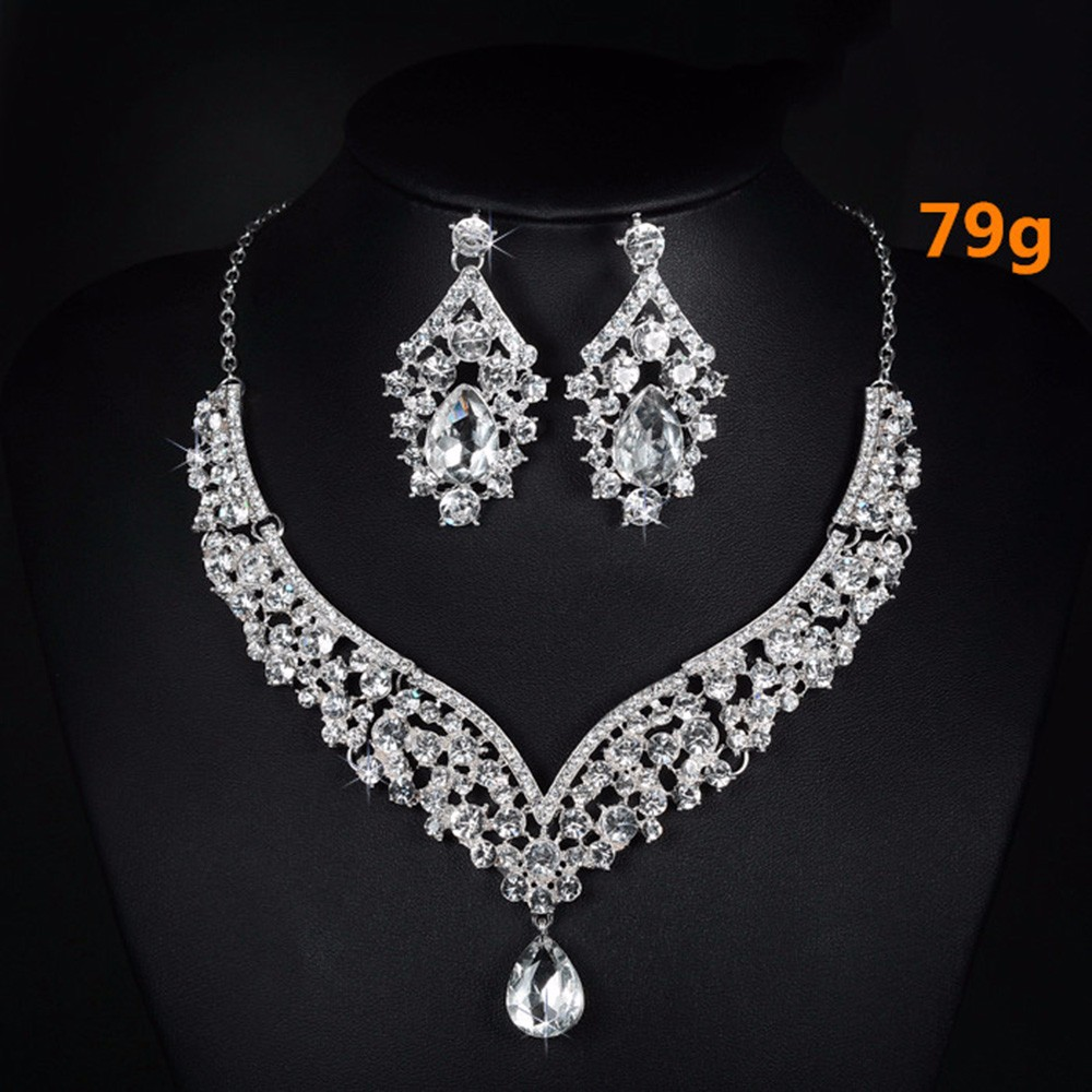 V necklace and earrings luxury crystal jewelry sets wedding engagement bijouterie romantic vintage cz diamond embroidery decoration D022 (5)