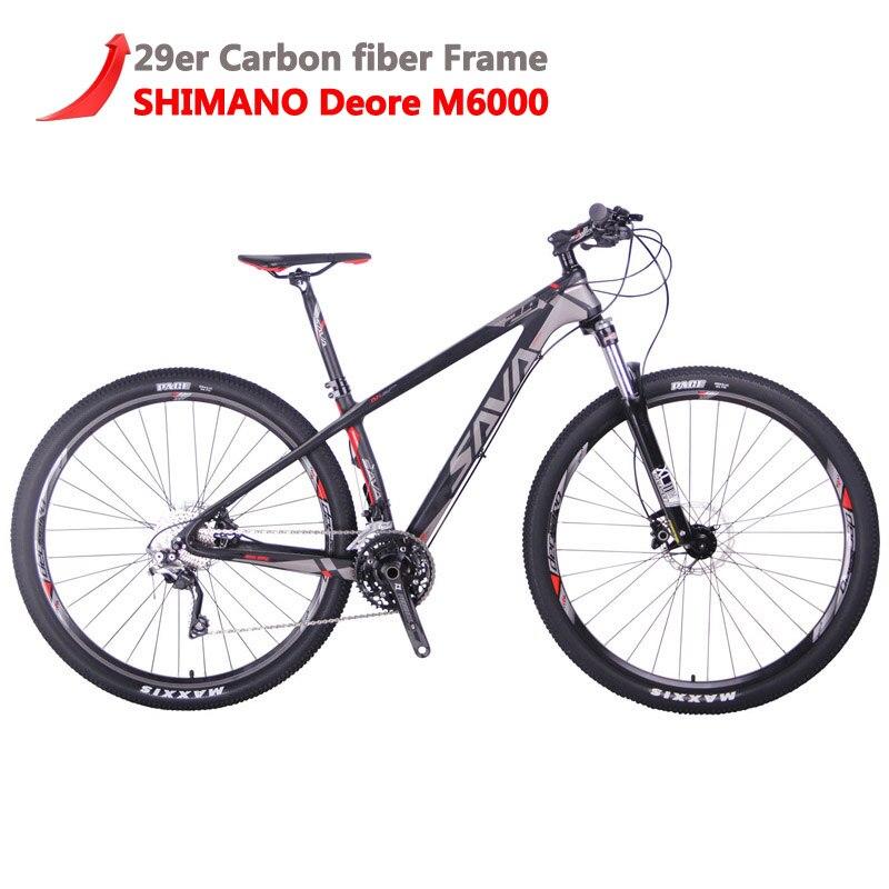 SAVA Hommes vtt 29 vtt Carbone Vtt 29 DECK300 Vtt Vélo Vélos de montagne avec SHIMANO DEORE 30 Vitesses