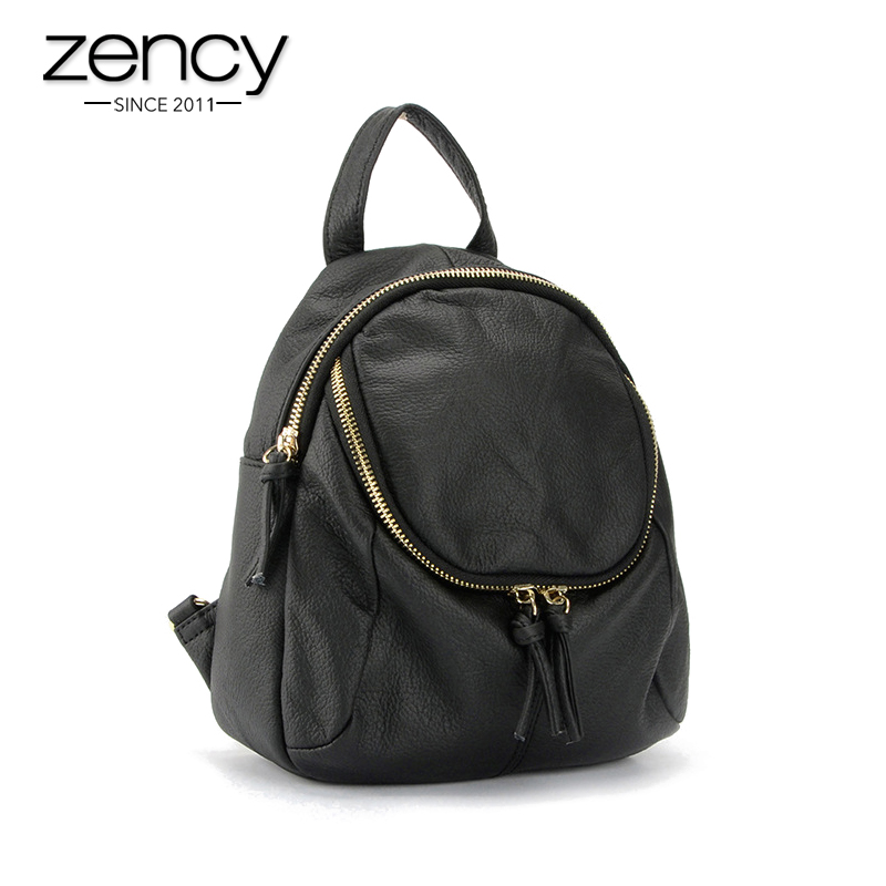 100% Genuine Leather Famous Brand Small Women Backpack Vintage Laptop School Book Bags for Girls Knapsack Mochila Mujer Feminina