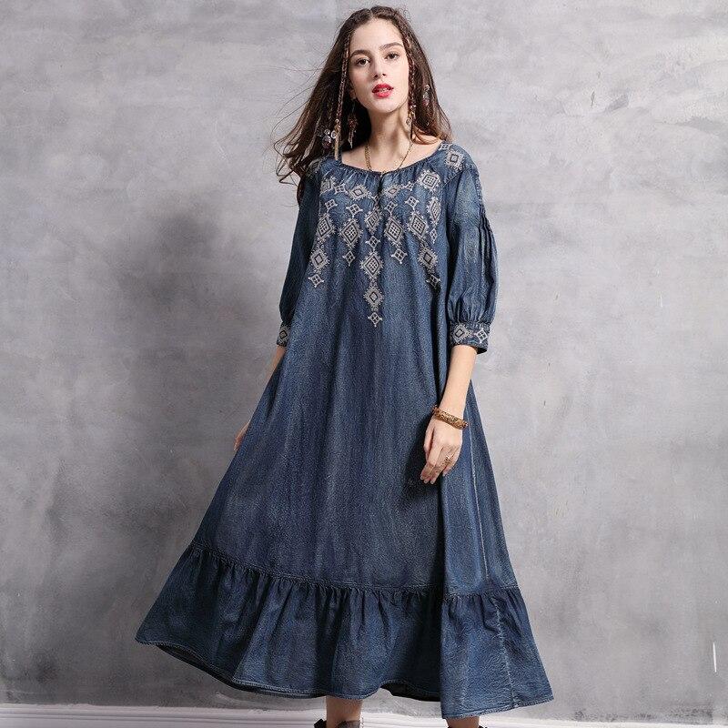 Swing Vintage Big Moitié Robes Printemps Denim Femmes Lâche Broderie Bleu Manches Robe Longues 2019 Coton jzMqVGLpSU