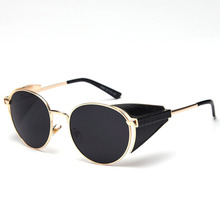 PAWXFB New Punk Sunglasses Women Men 2019 Round Sun Glasses Mirror Steampunk Gafas de sol Shades