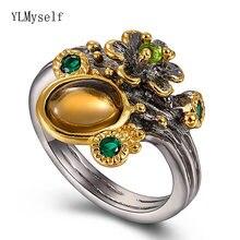 Этническое кольцо из коричневого камня женское коричневое ювелирное