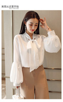 Women Spring Coat 2018 Spliced Solid White Office Ladies Blouses Long Lantern Sleeve Chiffon Shirts Roupas