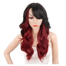 Deyngs Ombre Red/Blonde Synthetic Wigs For Black Women Long Body Wave Wigs With Bangs Hair High Temperature Narural Cosplay Wig