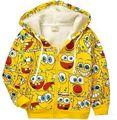 Retail 1 unid! nuevo 2016 chaqueta de la historieta del bebé y de los niños Bob Esponja Niños sudaderas con capucha gruesa capa Caliente niñas niños prendas de vestir exteriores