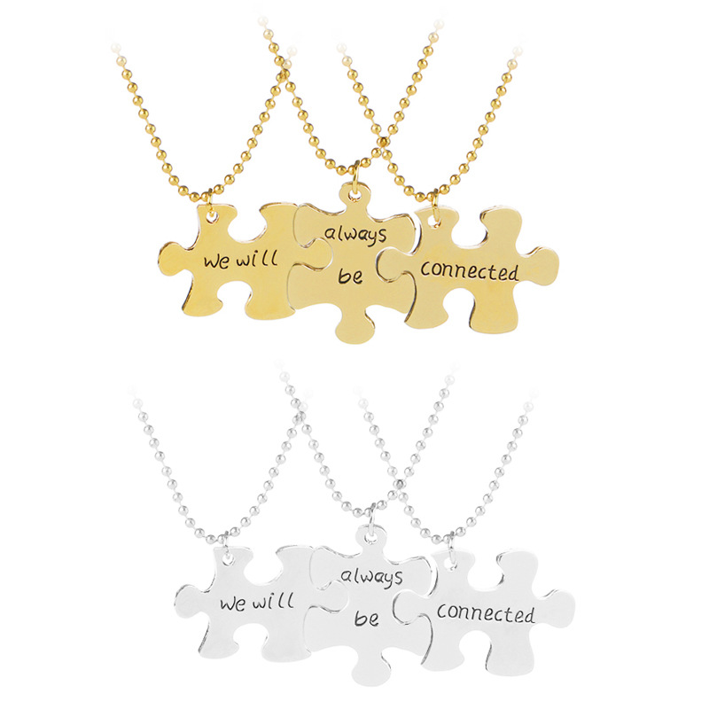 3PCs/set We will Always be Connected <font><b>Puzzle</b></font> Pendant NecklaceJigsaw Fashion Family Sister <font><b>Brother</b></font> BFF Friendship Jewelry Gifts