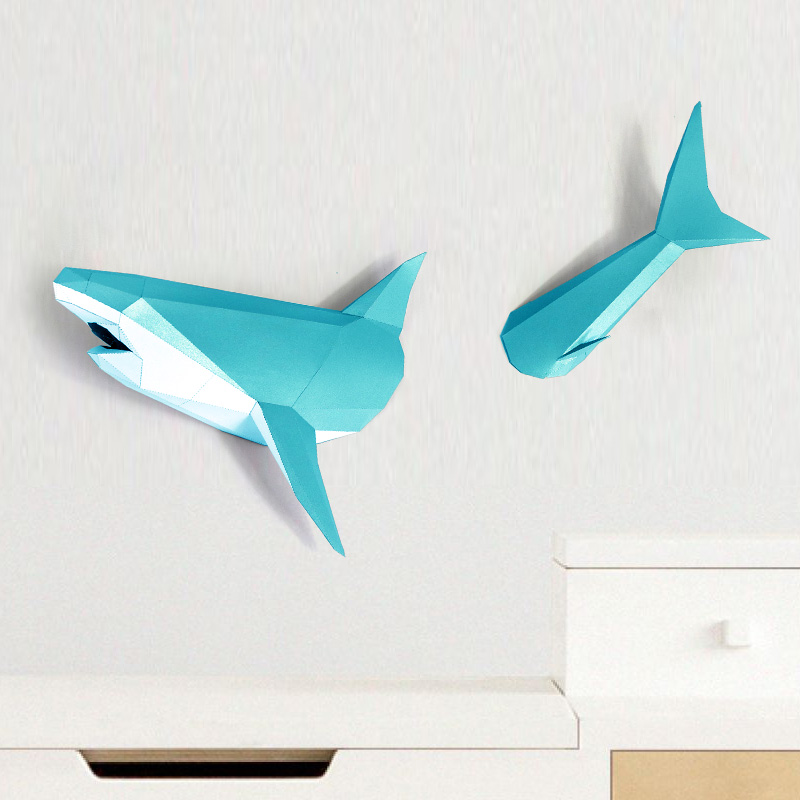 3D Shark Animal Paper Model Toy Home Decor Living Room Decor DIY Paper Craft Model Party Gift