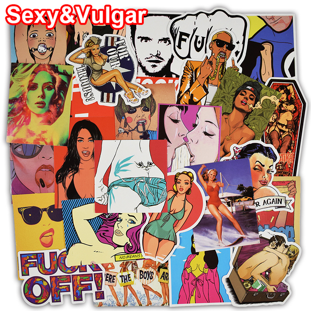Hot Sale 52 Pcs Mixed Sexy and Vulgar Stickers for Luggage Laptop Car Styling Waterproof Cool Sticker Bike Trunk Guitar Decals