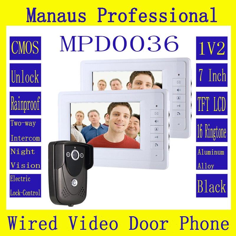 High Quality New Gery 7 Inch Video Door Phone Doorbell Intercom Kit 1-camera 2-monitor Night Vision D36b