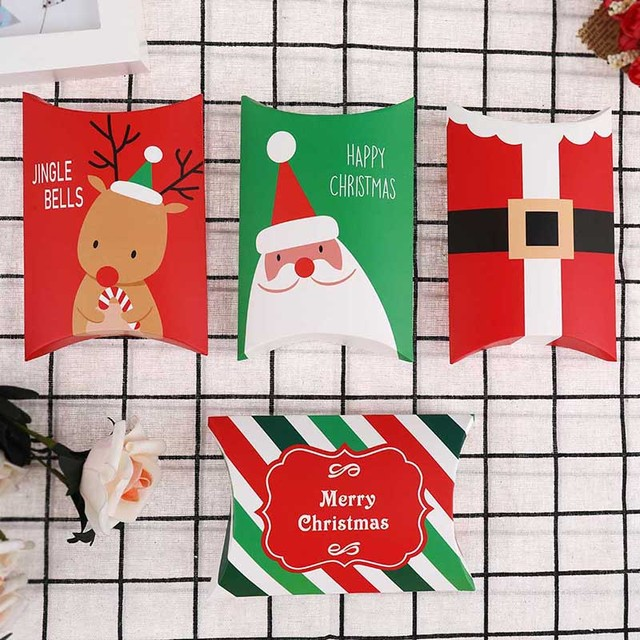 1 pz Scatola Di Caramelle Regalo di Natale Babbo Natale Renna Cuscino a Forma di