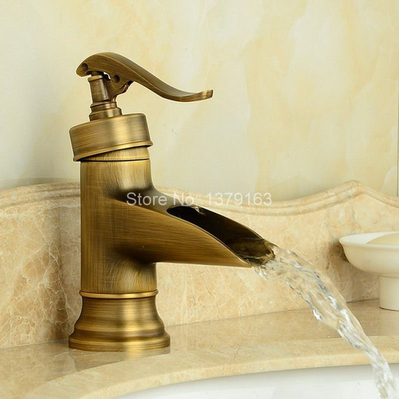 NEW Water Pump Look Style Antique Brass Single Handle Bathroom Deck Mounted Faucet Vessel Sink Basin Mixer Tap aan007 new water pump look style black oil rubbed antique brass single handle bathroom faucet sink basin cold hot mixer tap anf432