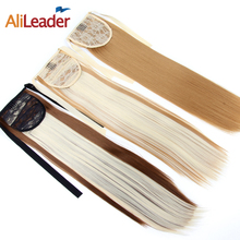 AliLeader 18 Inch Long Straight Hair Ponytail Blonde Brown Two Tone Clip In Ponytail Hairpiece Drawstring Ponytail Hairstyles