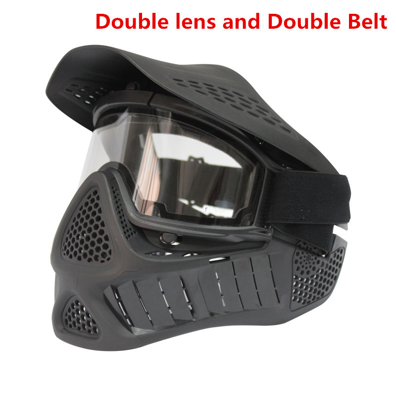ФОТО New Arrival Double lens Tactics Full-Face Anti fog Paintball Airsoft Mask with double Belt straps Green or Black color goggles