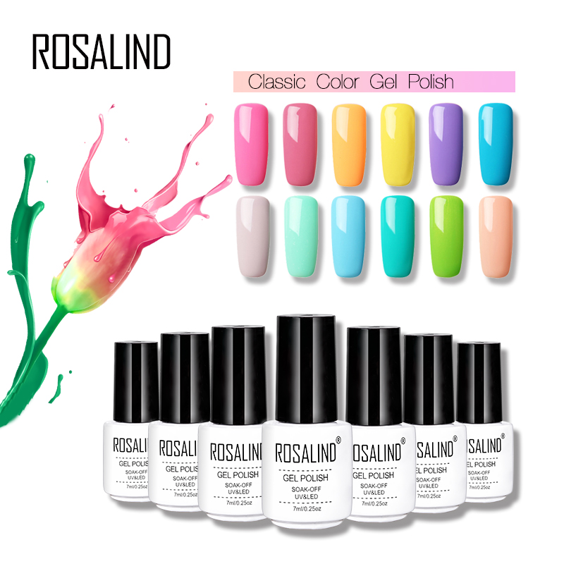Rosalind Gel1 7ml Pure 31-58 Color Nail Gel Polish Semi Permanant UV Gel Lacquer Long Lasting LED Gel varnish For Nail manicure  ...