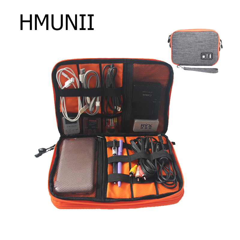 HMUNII Waterproof Double Layer Cable Bag Electronic SD Card Organizer Travel Bag USB Earphone Case Digital Travel Accessories