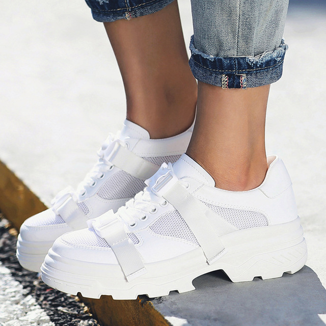 325b72856d9cc Genuine Leather Mesh Women's Platform Sneakers 2018 Fashion Women White  Black Dad Shoes Woman Casual Chunky Footwear