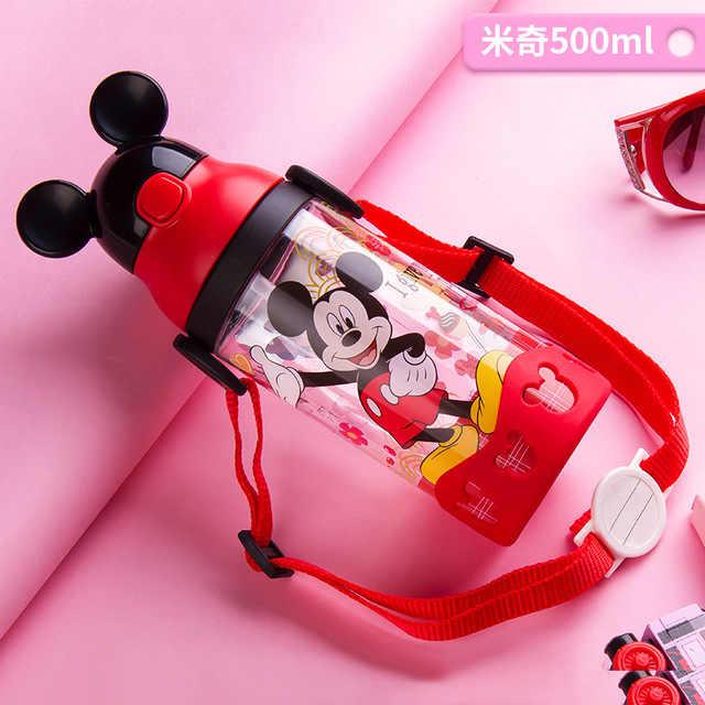 Disney Minnie Mickey Mouse tasses dessin animé en plastique solide alimentation étudiant pratique en plein air enfant sport bouteille avec paille 520ML