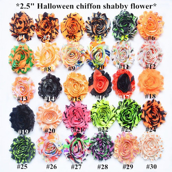 "75 yards / lot , hair accessories 2.5"" halloween   frayed shabby chiffon rose flower headband"