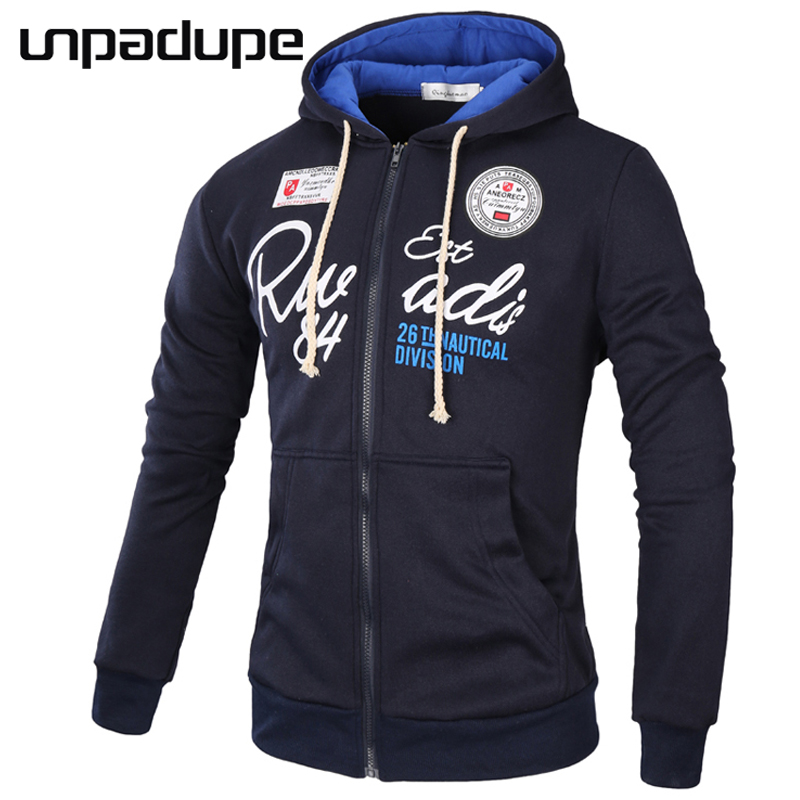 Unpadupe márka 2018 kapucnis pulóverek márka férfiak levélnyomtatás pulóver férfi kapucnis hip-hop őszi téli cipzár kapucnis férfi pulóver