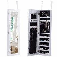 Goplus Door Mounted Mirrored Jewelry Cabinet Armoire Storage Organizer Modern White Make Up Mirrors Necklace Storage