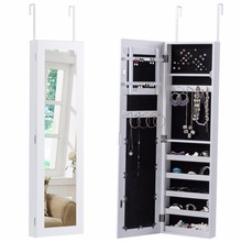 Goplus Door Mounted Mirrored Jewelry Cabinet Armoire Storage Organizer Modern White Make Up Mirrors Necklace Storage Box HW54410