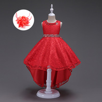 Children European Blue Beige Wine Red Girls Party Dress Pearl Children Flower Girl Wedding Party Formal Dresses Real Image