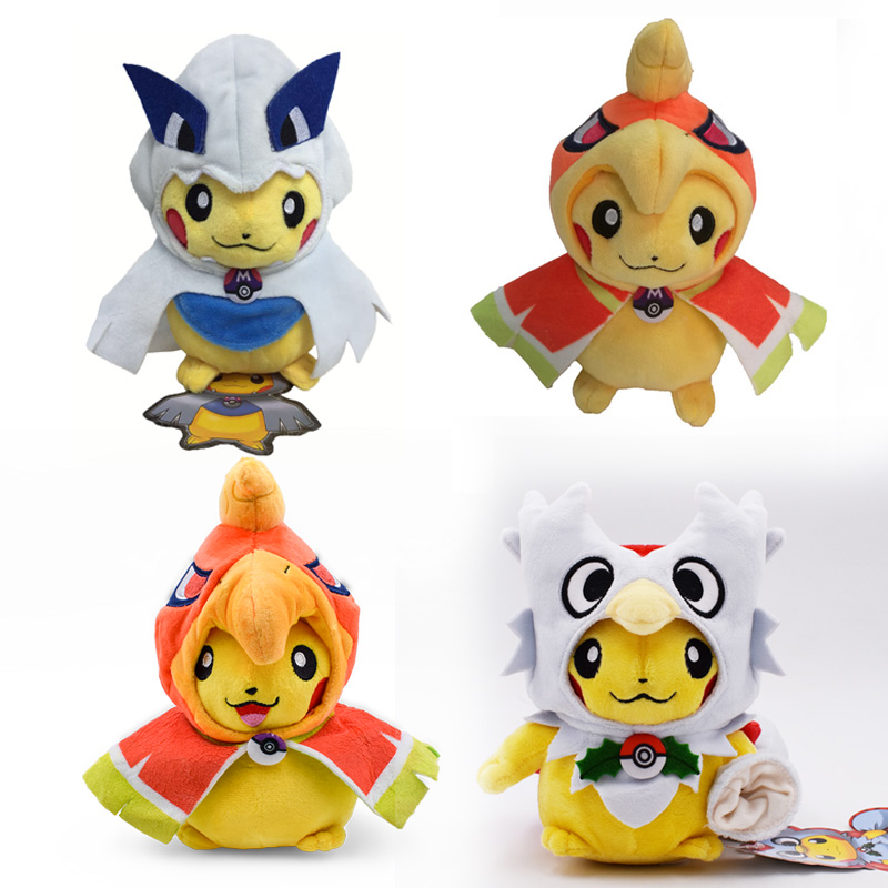 4 Styles Anime <font><b>Peluche</b></font> Pikachu Cosplay Delibird Lugia Ho-Oh Stuffed Plush Cartoon Dolls Hot Christmas Gift Toy For Children image
