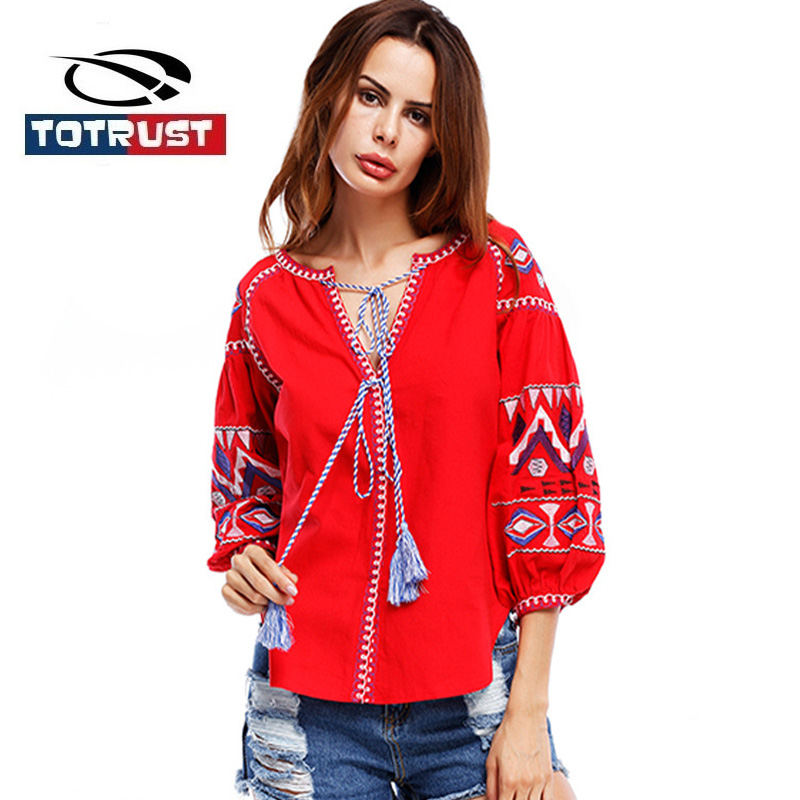 TOTRUST Vintage Boho Embroidery Blouse Women 2017 Lantern Long Sleeve Loose Blouse Shirt Women Shirts Chemise Femme Ladies Tops