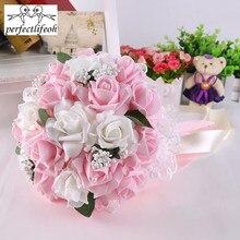 Apertlifeoh buquê de noiva, flores da dama de honra para casamento, rosas, flores de casamento, noiva