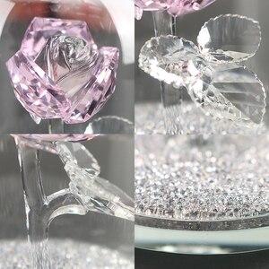 Image 3 - H & D كريستال الوردي زهرة ثقالة الورق زجاج قبة زهرة تمثال تحصيل تمثال هدية الزفاف الجدول محور زخرفة