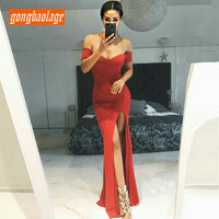 Sexy Red Mermaid Evening Gown Party 2019 ever pretty Evening Dresses Long Prom Sweetheart Elastic Satin Slim Fit Formal Dress