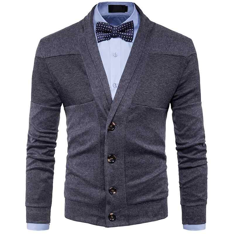 2018 Autumn Winter Clothes New Men's Fashion Casual Sweater British Retro V-neck Cardigan Men Slim Sweater jacket