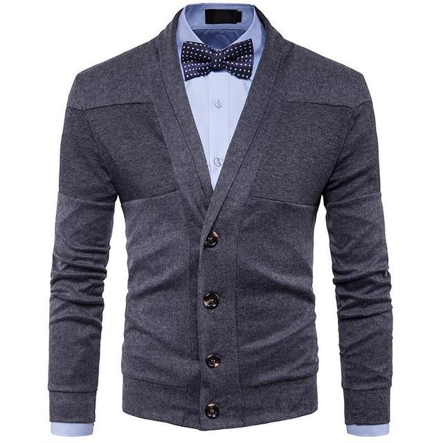 b5286f5dac3 2018 Autumn Winter Clothes New Men s Fashion Casual Sweater British Retro V-neck  Cardigan Men Slim Sweater jacket