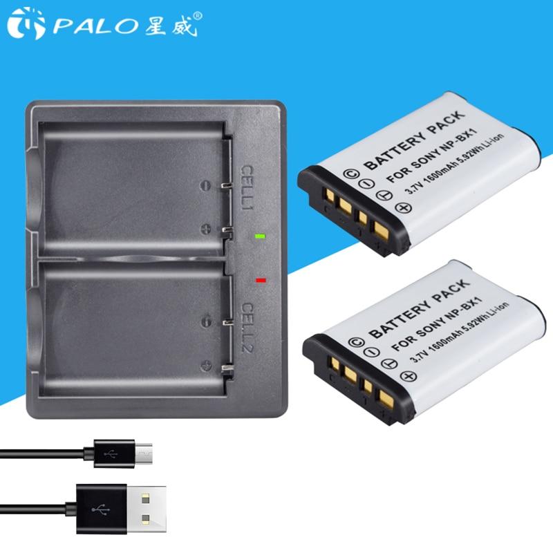 PALO 2 piezas NP-BX1 batería NP BX1 NPBX1 + cargador de batería Dual para Sony NP-BX1 DC-GX850K DMC-LX9 DMC-GM1K DMC-GM1S DMC-GM1W