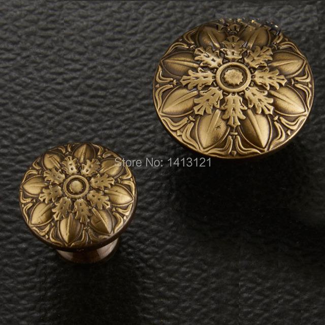 Frete grátis cabo de peças de hardware botão móveis de bronze esculpida gaveta botão de puxar guarda-roupa armário punho