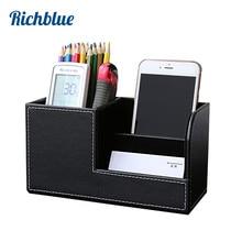 Купить с кэшбэком wooden struction leather multi-function desk stationery organizer storage box pen pencil box holder case container black 1302