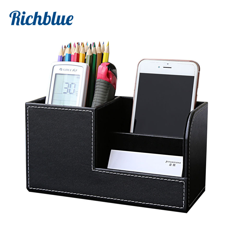 High Grade PU Læder Pen Pencil Box Holder Desktop Remote Opbevaring Box Stationery Pen Stand Holder Desk Organizer Case Container