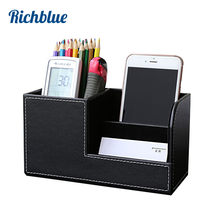 High Grade PU Leather Pen Pencil Box Holder Desktop Remote Storage Box Stationery Pen Stand Holder Desk Organizer Case Container(China)