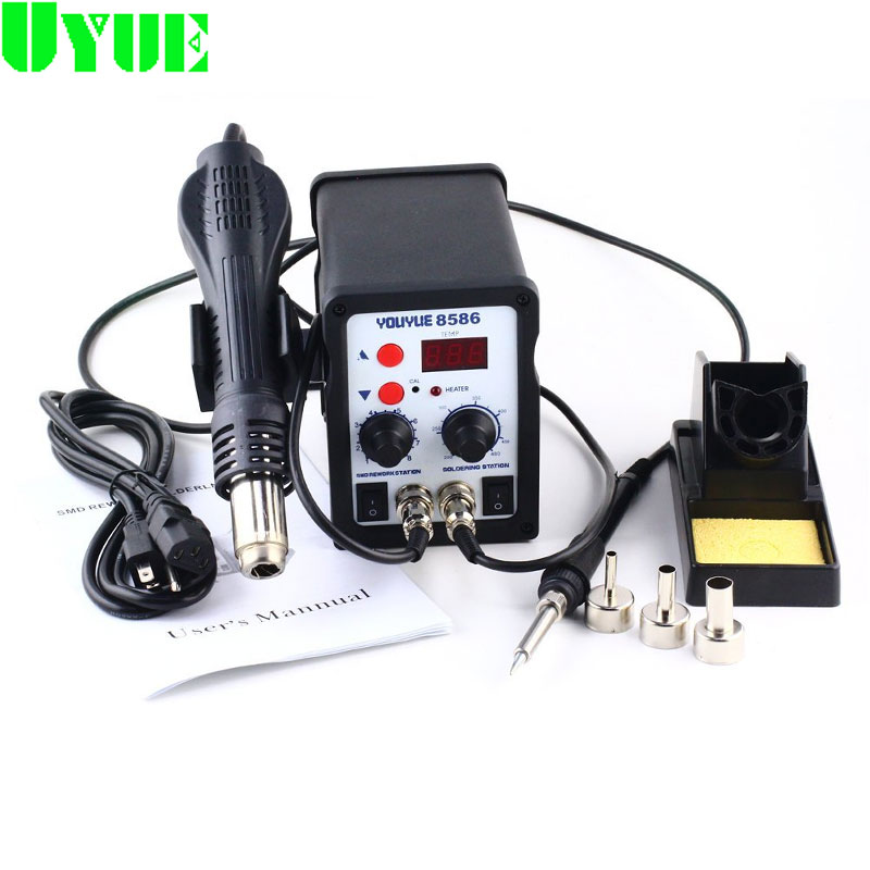 YOUYUE 8586 220V/110V Soldering Station 2 in 1 SMD Rework Station Hot Air Gun + Electric solder iron Station 3 Nozzles 8586 2 in 1 esd soldering station smd rework soldering station hot air gun set kit welding repair tools solder iron 220v 110v