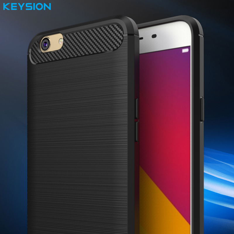 KEYSION Phone Case For OPPO F1S A59 Environmental Carbon Fiber Soft TPU Brushed Anti-Skid Back Cover For OPPO F1S Phone Bags