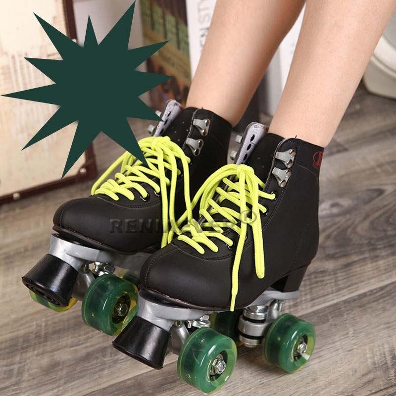 Роликовые коньки с Зеленый светодиод Освещение Колёса двойная линия коньки для взрослых 4 Колёса два линию роликовых коньках Обувь