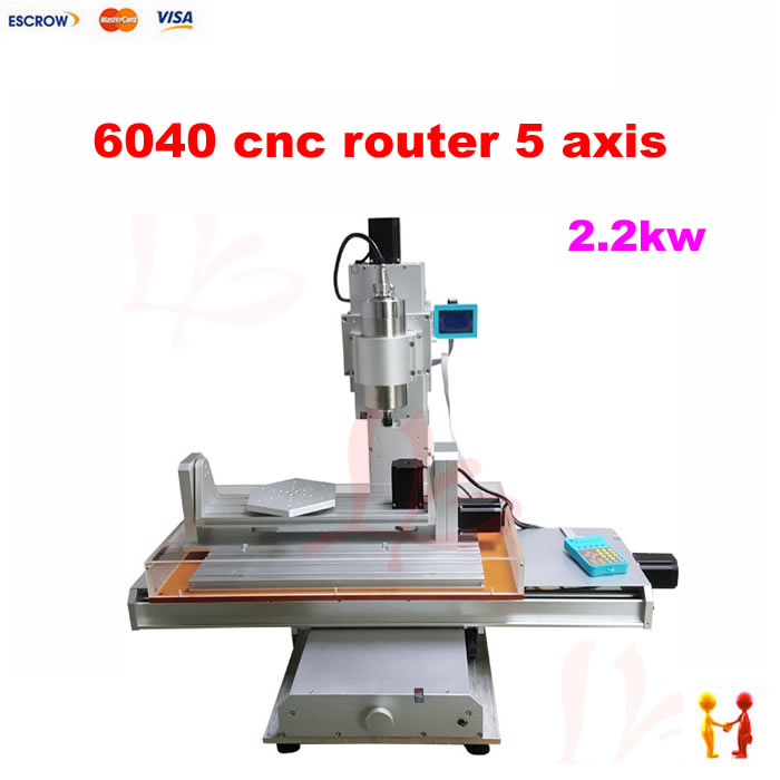 Three dimensional 5 axis cnc router 6040 mini woodworking milling machine for metal wood cutting with 2.2KW cnc 5 axis a aixs rotary axis three jaw chuck type for cnc router