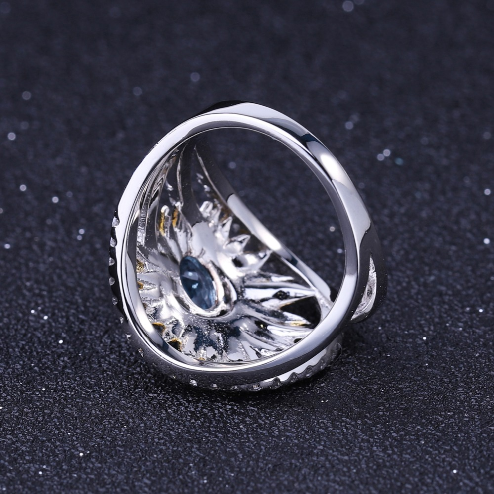 Image 4 - Женское кольцо gembs BALLET, кольцо с подсолнечником из серебра  925 пробы с натуральным швейцарским синим топазом 1,00ctКольца   -