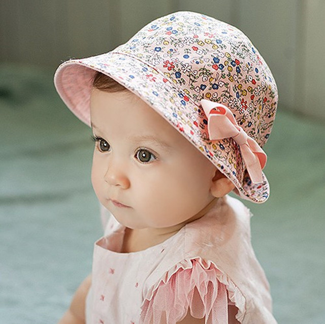 New cute spring summer baby girl hats newborn sun hat floral dual use baby cap cotton
