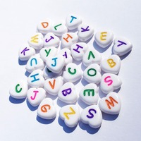 Wholesale 1300pcs 12MM Lovely Heart Shape Colorful A Z Mixed Letters Beads DIY Jewelry Findings Alphabet Character Initial Beads