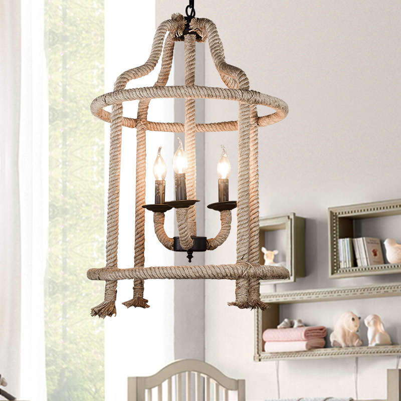 Nordic American country wrought iron rope lights loft creative personality retro living room chandelier Restaurant Bar Cafe american country to do the old wrought iron loft retro bar stool wood sub circular bar chairs chair cafe bar