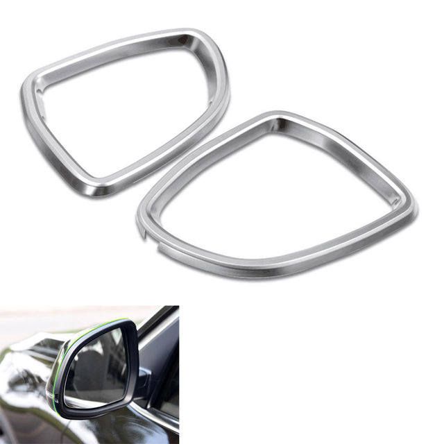 2pcs Chrom Front Door Outer Rearview Mirror Rain Guard Frame Cover