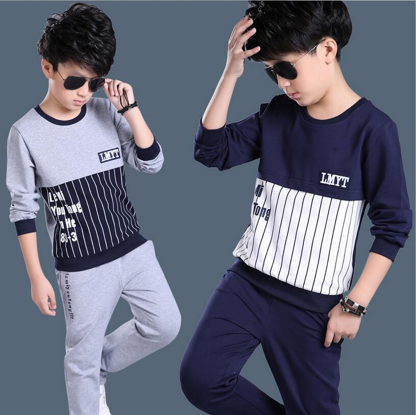 New Spring Autumn Kids Clothes Sets Two-piece Vetement Garcon Children Casual O-neck T-shirt And Pants Boys Sport Suit Outwear