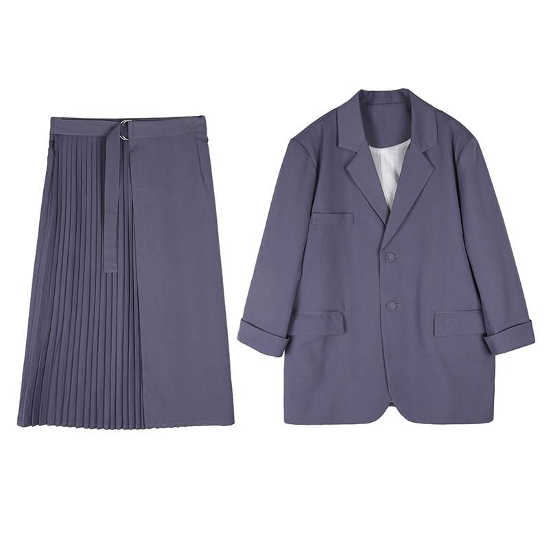 New Fat Sister Big Size Fall Dress Fat Mm Thin Jacket Half-Length Skirt Button Adjustment Black L XL XXL XXXL Suit Women Coat